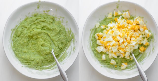 Collage showing process shots for mashing the avocado and adding the chopped hard boiled eggs