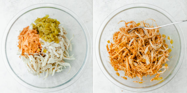 Collage of the chicken mixture before and after mixing