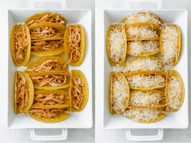 Collage of the tacos first with the shredded chicken mixture, then with the cheese added on top