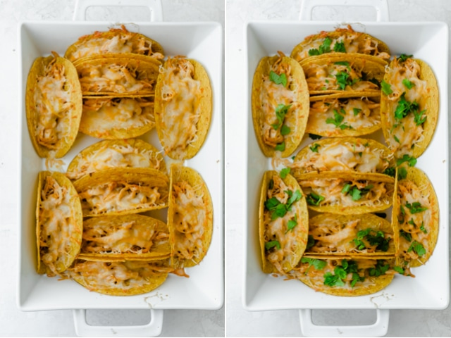 Collage of the baked tacos out of the oven with the cheese melted in one and the cilantro added in another