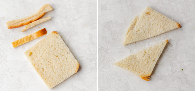 Collage showing the slice of bread, cutting off crust, then cutting in half into rectangles