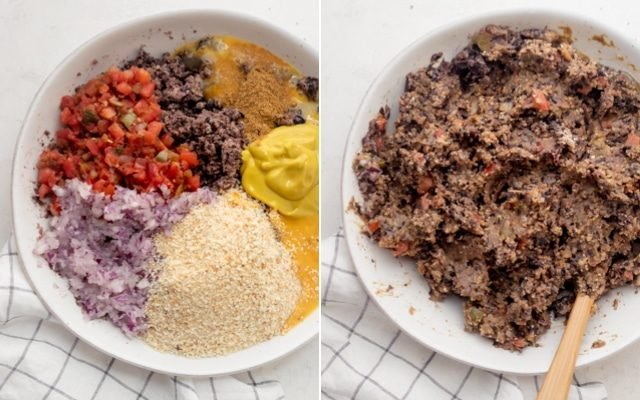 Collage showing all the ingredients in a bowl before and after mixing