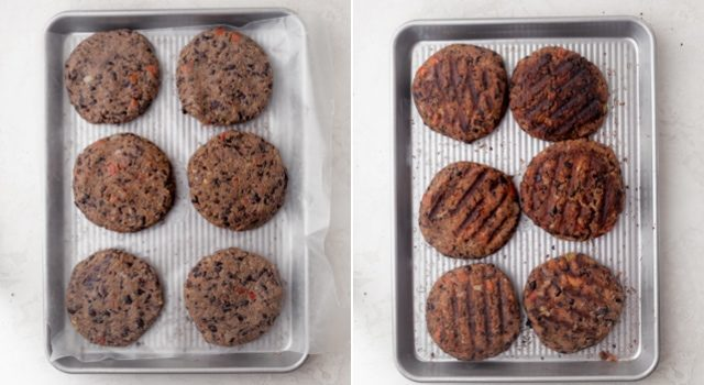 Collage showing the burger patties before and after cooking