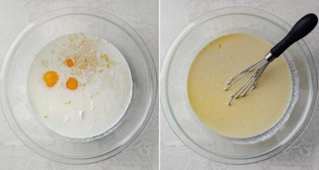 Wet ingredients process shots for making pancakes