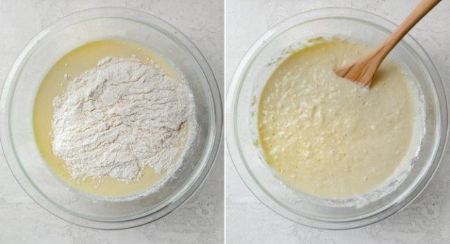 Process shots showing the wet and dry ingredients getting mixed