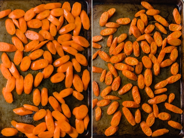 Collage showing the carrots before and after baking