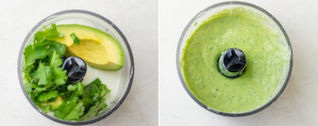 Collage of the avocado cilantro dip before and after mixing