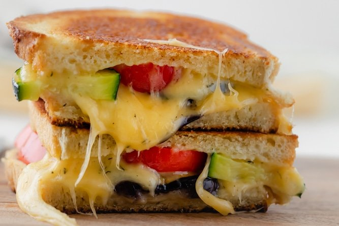 Close up shot of grilled cheese sandwich