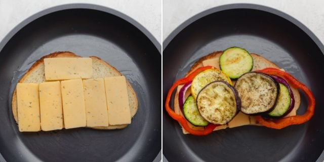 Collage showing the grilled cheese sandwich in the making with cheese and the vegetables
