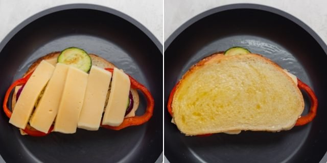 Collage showing the grilled cheese sandwich in the making with another layer of cheese and then the buttered bread on top