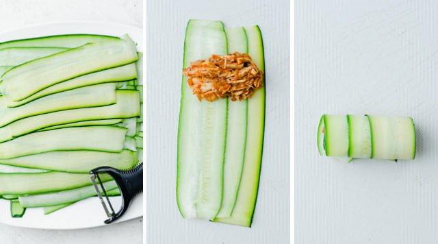 Collage showing Plate full of sliced zucchini using a Y-shaped peeler and demonstrating how to stack the zucchini slices and roll them
