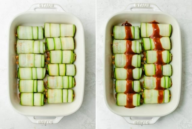 Collage of the rolls in the baking dish before and after the sauce is added