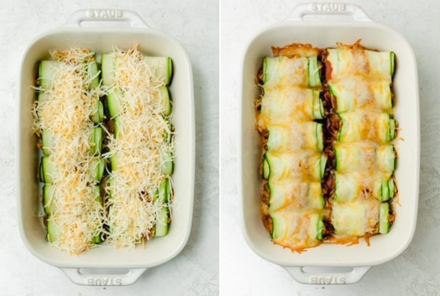Collage of the zucchini rolls in the baking dish before and after cooked with the cheese
