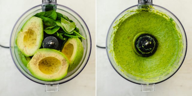 Collage of two images showing the avocado dressing in the food processor before and after blending