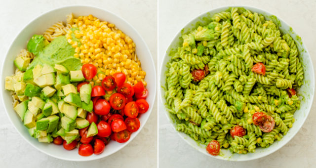 Collage showing two images of the salad before and after getting tossed