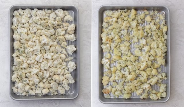 Process shots collage showing the cauliflower florets before and after roasting