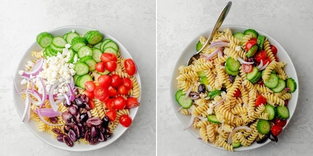 Before and after mixing the pasta with the vegetables and dressing