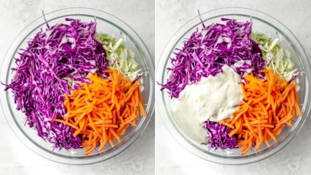 Collage showing all the salad ingredients before and after mixing