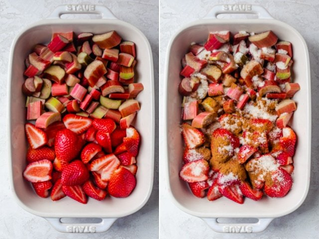 Collage of two images showing the strawberries and rhubarb alone and then with sugar and cinnamon on top