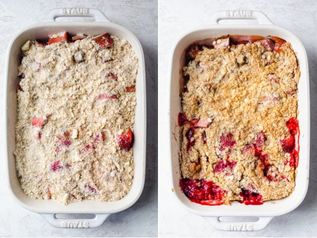 Collage of two images showing the recipe before and after baking