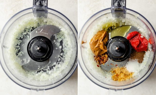 Collage of two images showing the onions being processed and then the remaining ingredients getting added to the food processor