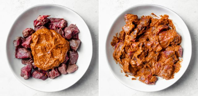 Collage of two images showing the sauce over the meat and then the sauce mixed with the meat