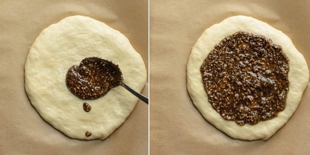 Process shots showing zaatar spread going on the dough and then spread around