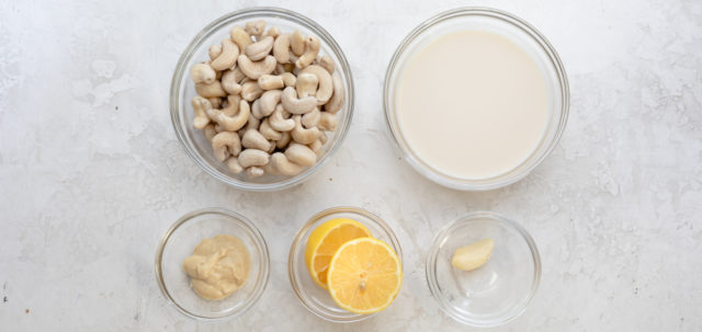 Ingredients to make the vegan cashew dipping sauce
