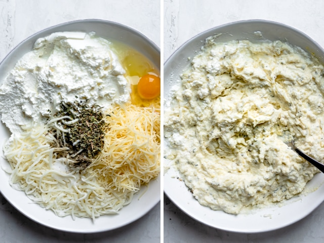 The cheese mixture with ricotta, mozzarella, kaltbach, egg and spices before and after mixing
