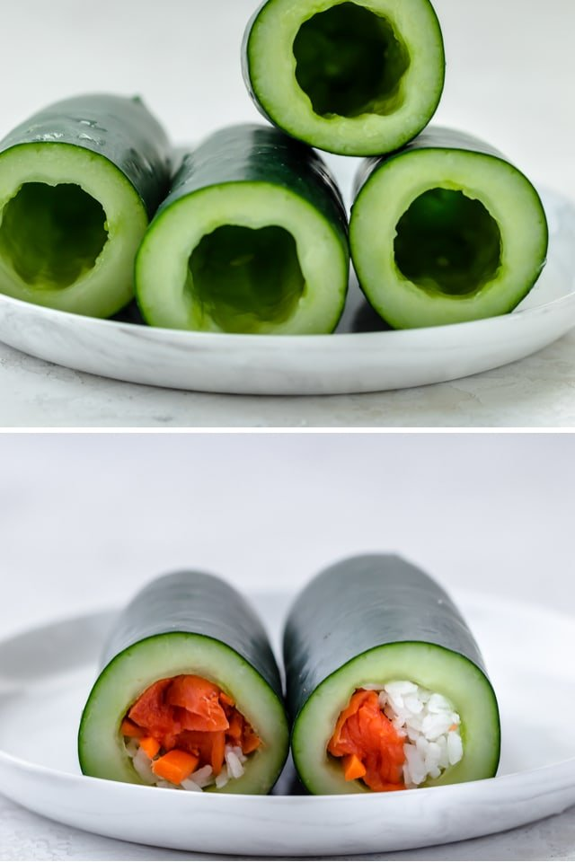 Collage showing the cucumbers hallowed out and then stuffed