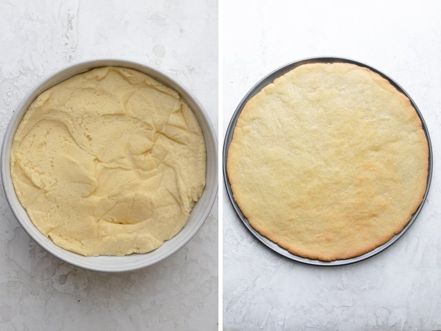 collage of pizza crust before and after baking