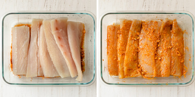 Process shots showing the mahi mahi added to the seasoning before and after getting mixed