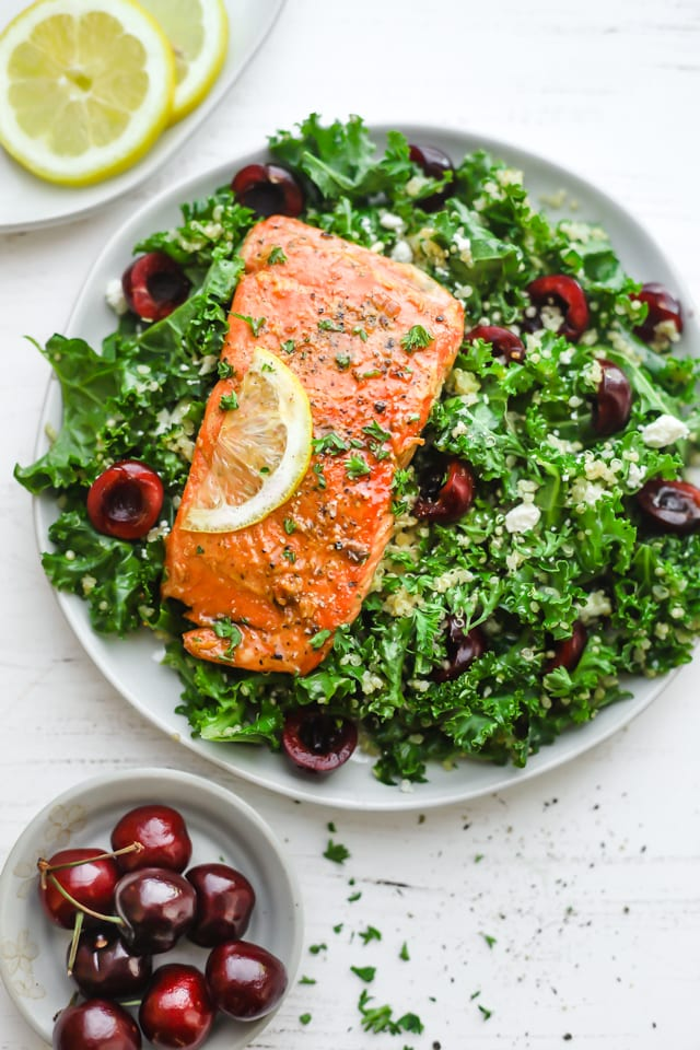 Honey lemon salmon on a bed of greens