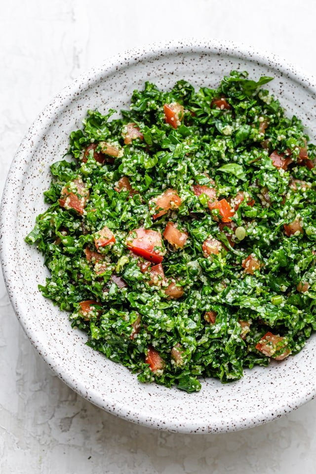 Kale tabbouleh Salad after mixing and ready to be eaten