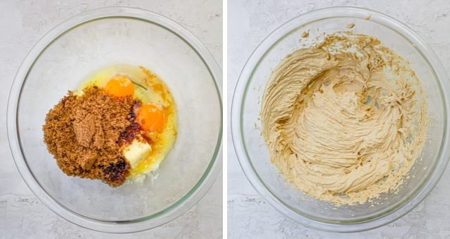 Collage showing wet ingredients before and after mixing