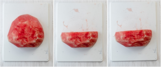 Process shots for cutting watermelon in large cubes