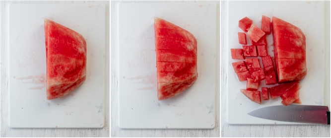 More process shots for cutting watermelon
