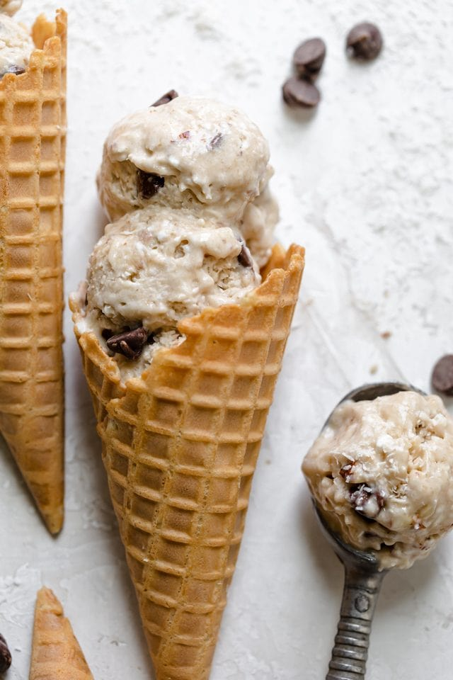 Close up of the finished almond joy ice cream in waffle cone