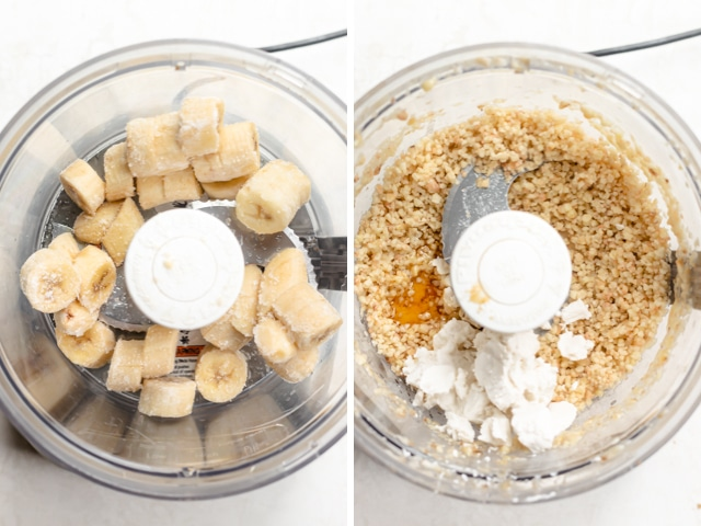 Collage showing blender with bananas, and then blended bananas with coconut cream, maple syrup and almond extract