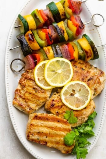 Cilantro chicken grilled with grille veggie skewers