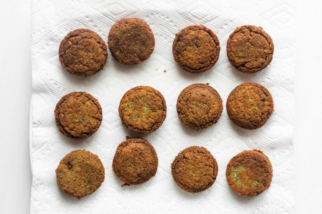 Fried falafel on paper towel