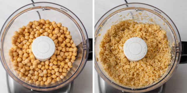 Collage showing food processor grinding chickpeas