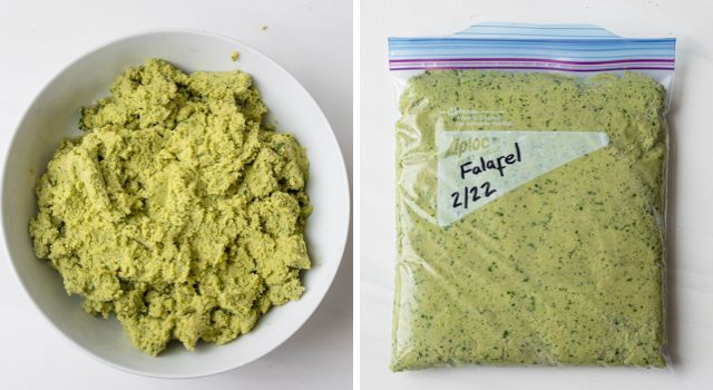 Collage showing Falafel mixture in a bowl for refrigerate and also in freezer-safe bag ready to be frozen