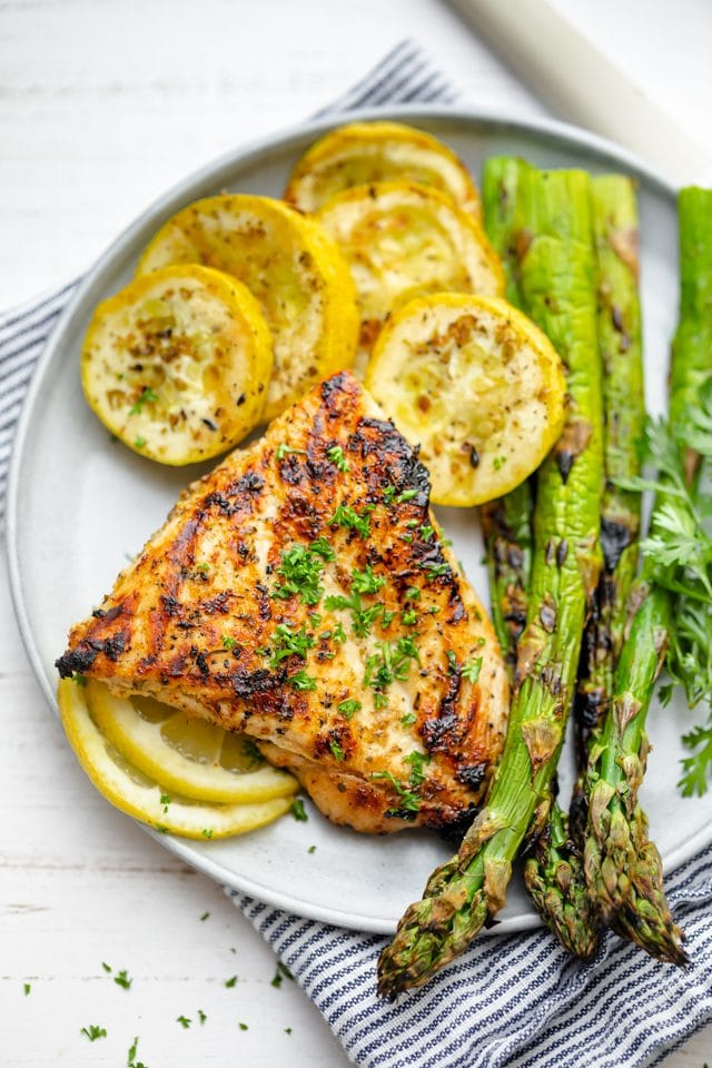 Plate with grilled lemon chicken, zucchini and asparagus