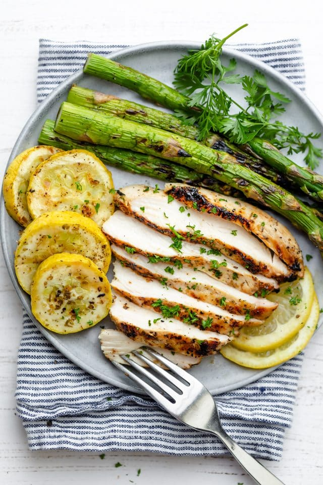 Plate with sliced grilled chicken, asparagus and zucchini