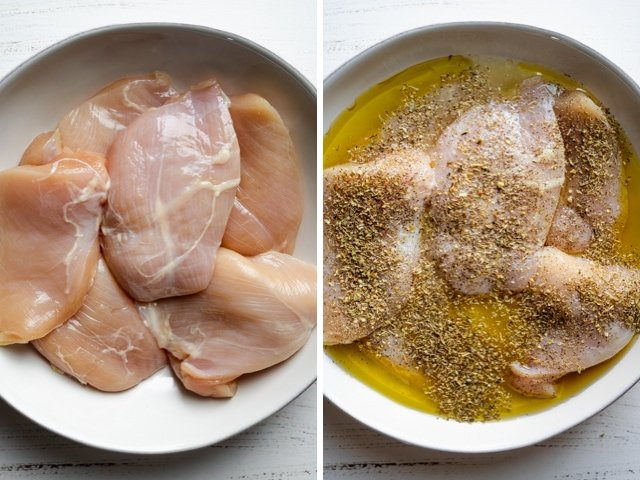 Collage of chicken breasts before and after the marinade is added