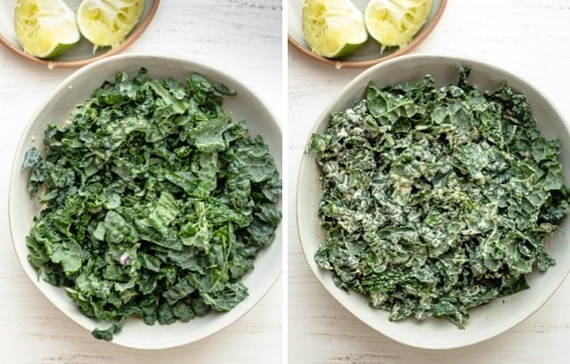 Collage showing the chopped kale before and after adding the dressing on top