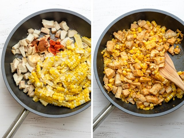 Collage showing a pan with the chicken, corn and spices before and after cooking together