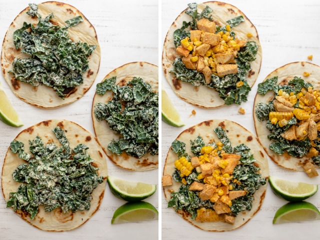 Collage showing assembly of the Mexican street tacos, first adding the kale slaw, then adding the chicken filling