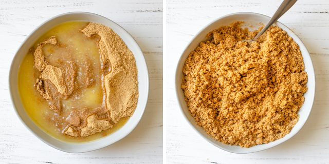 Collage of two images showing how to make the graham cracker crust before and after mixing